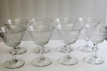 vintage Duncan & Miller sandwich pattern glass cocktail or champagne glasses set of 8