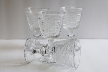 vintage Duncan & Miller sandwich pattern glass wine glasses, set of four goblets