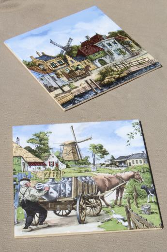 vintage Dutch pottery tiles w/ scenes of old Holland, farmer w/ milk cans