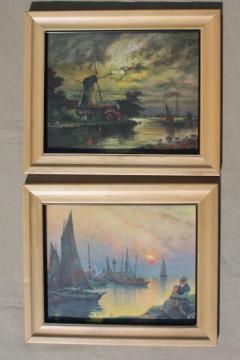 vintage Dutch scene prints, framed color litho print pictures Reliance Picture Co