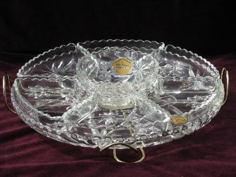 Wonderful Vintage EAPC Prescut Glass Relish Dishes Set, Lazy Susan Turntable Stand