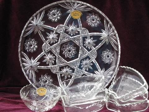 Vintage EAPC Prescut Glass Relish Dishes Set, Lazy Susan Turntable Stand