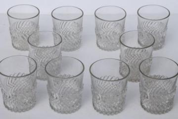 vintage EAPG Jersey Swirl pattern glass tumblers, antique drinking glasses set