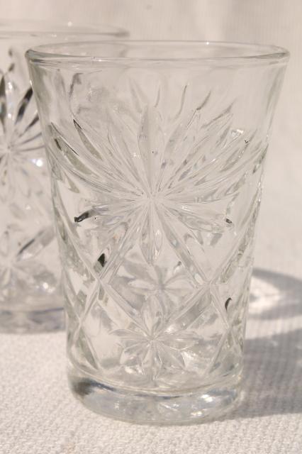 Vintage Early American Prescut Star Pattern Glass Tumblers