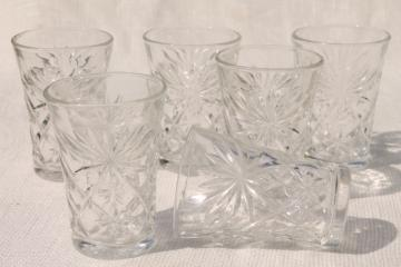 vintage Early American PresCut star pattern glass tumblers set, Pres-Cut Anchor Hocking