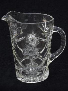 vintage Early American Pres-cut water pitcher, star prescut pattern glass