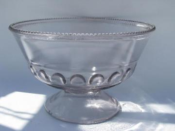 vintage Early American pressed glass, dakota thumbprint pattern comport bowl
