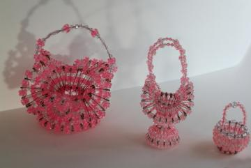 vintage Easter baskets, pink plastic beaded safety pin basket collection