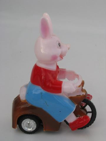 vintage Easter bunny car, painted hard plastic friction toy, Hong Kong
