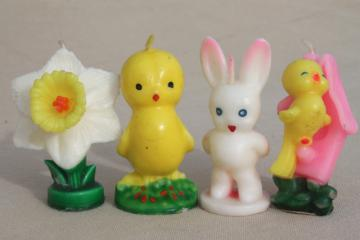 vintage Easter candles Gurley holiday figural novelty candle set, daffodil, baby bird, chick
