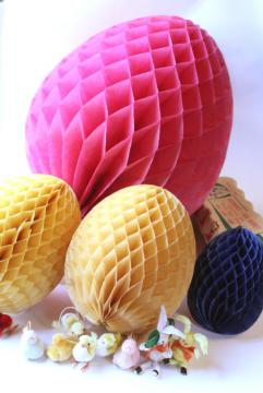 vintage Easter decorations, honeycomb tissue eggs, Japan chenille bunnies & chicks