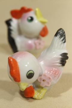 vintage Easter decorations, made in Japan hand painted china baby rooster figurines