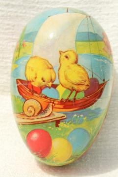 vintage Easter egg candy container, Western Germany paper papier mache egg w/ chicks