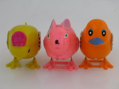 vintage Easter toys, Hong Kong hard plastic hopping chick, duck, bunny
