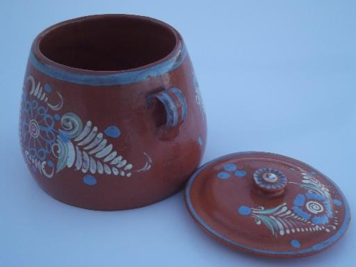 vintage El Palomar Mexican pottery jar, hand painted Mexico folk art