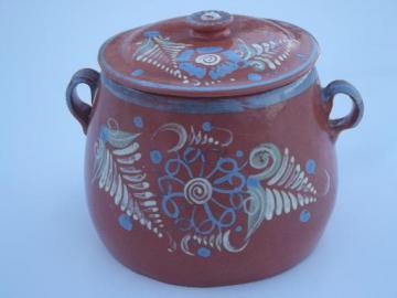 vintage El Palomar Mexican pottery jar, hand painted Mexico folk art