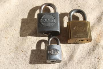 vintage Elgin locks, old brass & steel padlocks, locked without keys