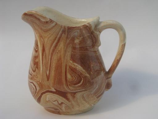 Vintage Emil Cahoy Pottery Pitcher Brown And Cream Slip