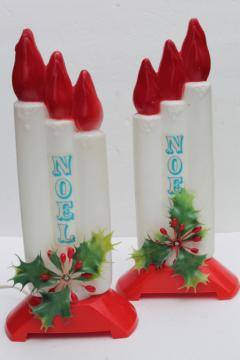 vintage Empire plastic blow mold Christmas candles, holiday window decorations