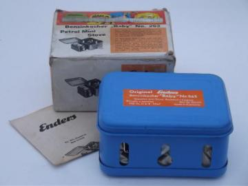 vintage Enders Benzinkocher Baby 263 camp stove, mini camp stove in original box