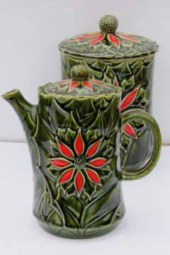 vintage Enesco Christmas red & green poinsettia & holly coffee pot & cookie jar