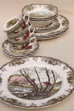 vintage England The Friendly Village Johnson Bros china dinner plates, bowls etc.