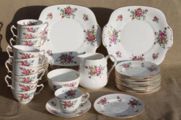 vintage England bone china tea cups, plates set for 12, Dresden Spray Crown Staffordshire