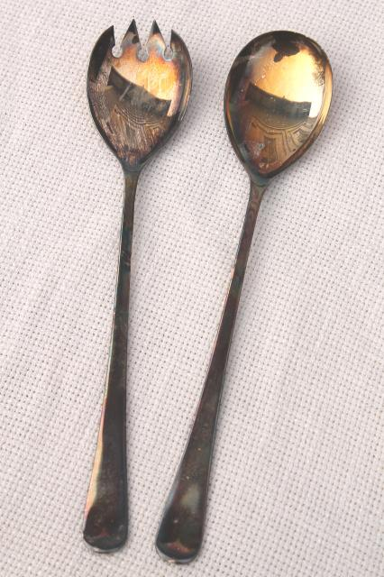 vintage English Sheffield silver plate salad servers spoon & fork in original box