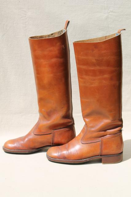 Vintage English Amp French Label Leather Riding Boots For