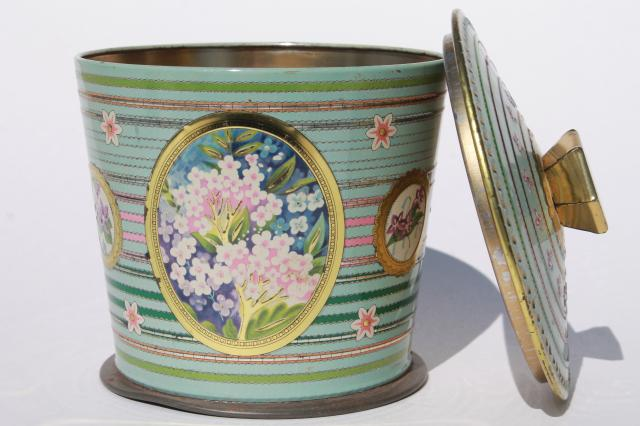 vintage English biscuit jar or tea tin, pretty pastel violets & garden phlox flowers