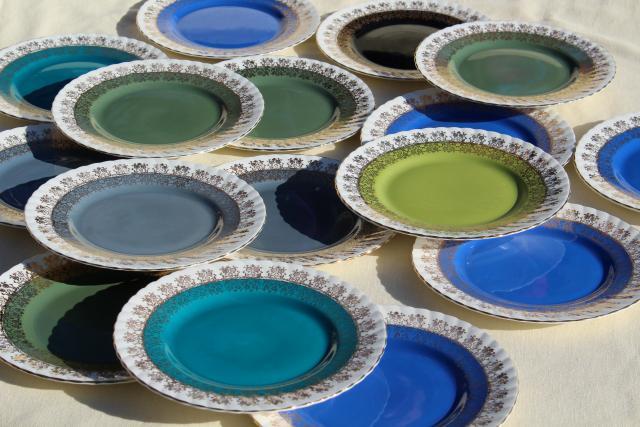 vintage English bone china plates blue green grey aqua cool color palette & vintage English bone china plates blue green grey aqua cool color ...
