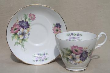vintage English bone china tea cup & saucer for January birthday snowdrop anemones