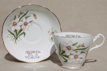 vintage English bone china tea cup & saucer for a March birthday daffodil jonquils