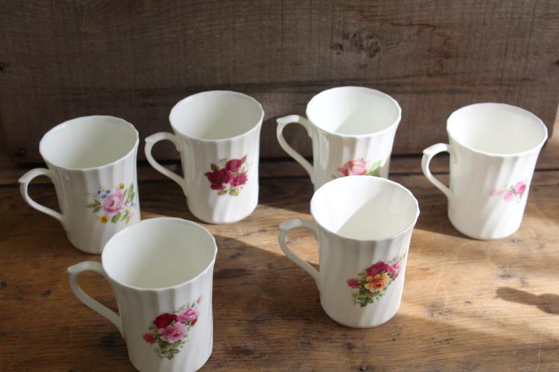 vintage English bone china tea mugs or coffee cups, six different roses florals