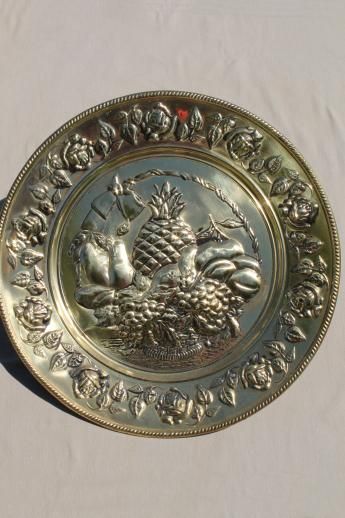 Vintage English Brass Charger Plates W Fruit Hand