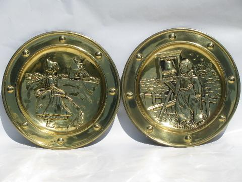 vintage English brass chargers, wall pocket plates w/ Dutch windmills