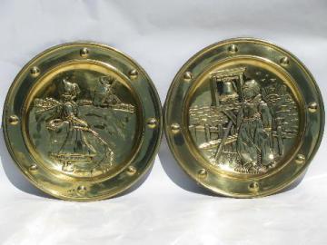 vintage English brass chargers, wall pocket plates w/ Dutch windmills
