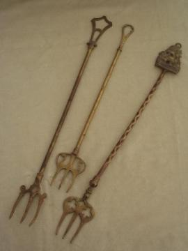 vintage English brass toasting fork collection of long brass forks