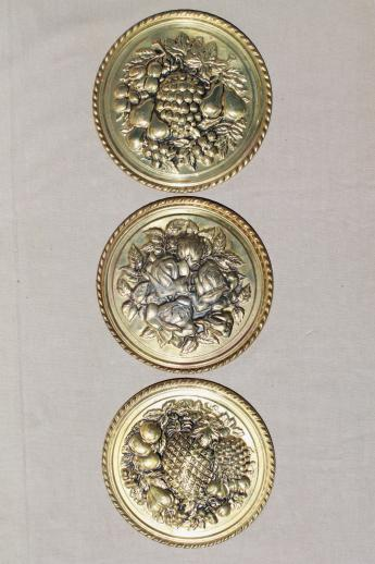 Brass Kitchen Wall Decor : Vintage english brass wall art rounds fruit flowers for