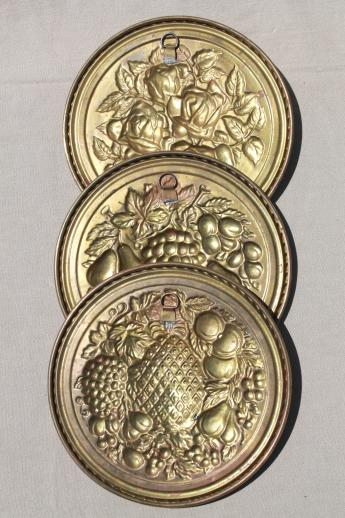 vintage English brass wall art rounds, fruit & flowers for your kitchen