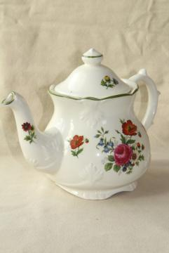 vintage English china tea pot, Price Kensington floral June flowers of the month