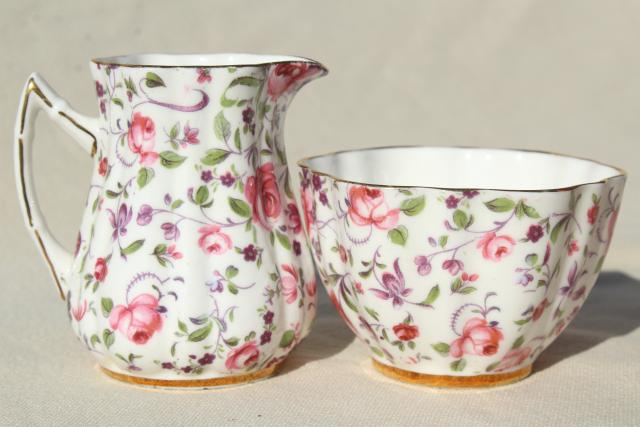 vintage English chintz china cream pitcher & sugar bowl, Old Royal England