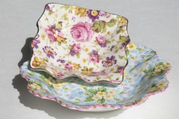 vintage English chintz china pin dishes, Shelley Primrose, James Kent Rapture