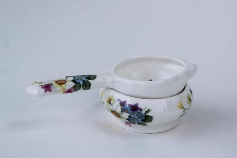 vintage English chintz china tea strainer, St George fine bone china w/ flowers