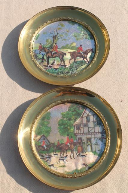 Vintage English Country Hunt Scenes Brass Wall Plaques Plate Frames W Color Foil