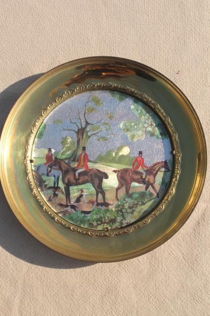 vintage English country hunt scenes, brass wall plaques plate frames w/ color foil pictures