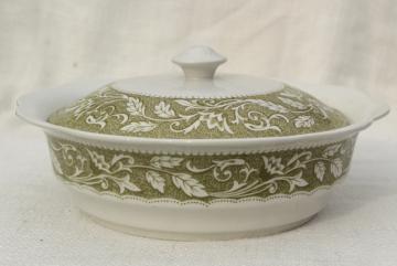 vintage English ironstone covered serving bowl, Renaissance Meakin green transferware