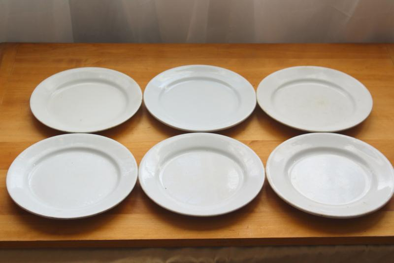 vintage English ironstone dishes, plain white plates rustic farmhouse table ware