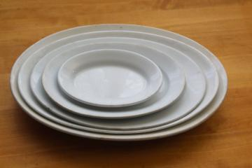 vintage English ironstone heavy white china platters stack big through small