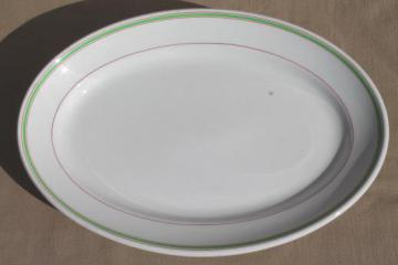 vintage English ironstone restaurant ware platter or tray w/ rose red & jadite green trim
